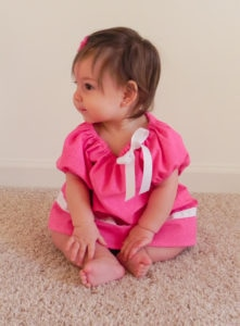Olivia is a girls peasant top sewing pattern that is simply beautiful with a gathered boat neck and a relaxed, comfy fit.
