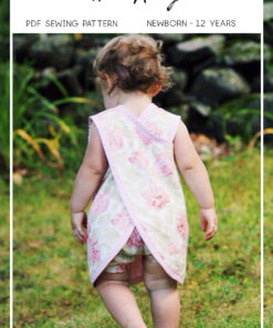 This reversible cross over dress pattern comes in sizes newborn to 12 years. It is a very quick and easy a-line dress with cross over back.