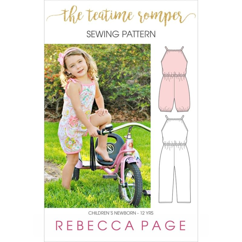 The Teatime Romper PDF sewing pattern has two leg length options (ankle and mid-thigh), an optional bow, and an elasticised hem option.