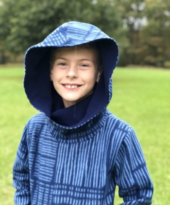 The Comfy Cowl Hoodie sewing pattern in children's sizes newborn to 12 years. It is perfect for boys and girls. Super comfy and oh so cosy!
