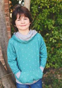 The Comfy Cowl childrens hoodie sewing pattern in sizes newborn to 12 years is perfect for everyone. Super comfy and oh so cosy!
