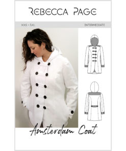 Fully lined all-weather coat pattern in sizes XXS to 5XL. Use different fabrics for different weather or make a raincoat with waterproof fabrics!