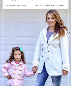Fully lined all-weather coat sewing pattern in sizes XXS to 5XL. Use different fabrics for different weather or make a raincoat with waterproof fabrics!