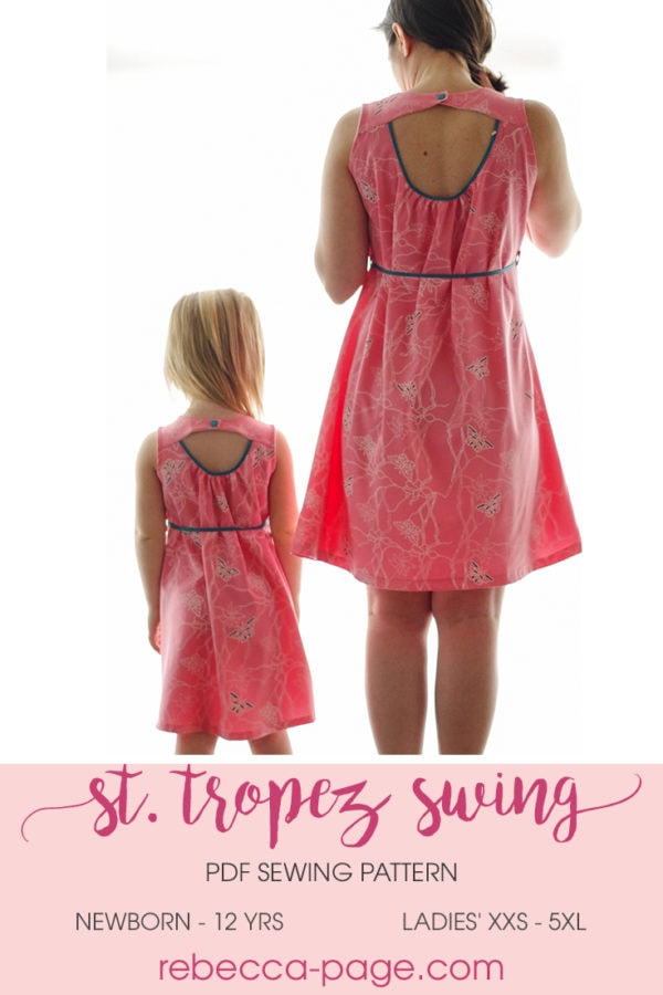 The St. Tropez Swing is a pretty, chic comfortable, and versatile swing top and dress sewing pattern with cut out detail in the back.