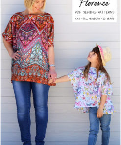 This great value floaty top pattern bundle includes both the ladies' and children's Floaty Florence PDF Sewing Patterns. A simple yet stunning top pattern!