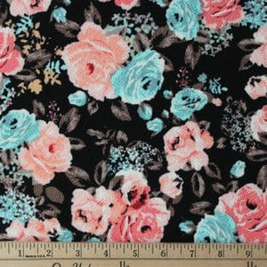 Raspberry Creek Fabrics Black Coral and Blue Floral