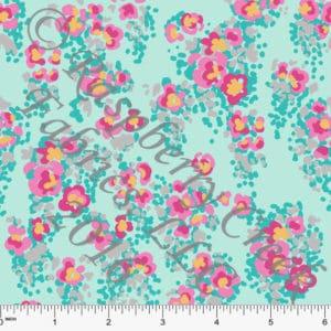 Raspberry Creek Fabrics Aqua Yellow Pink and Grey Abstract Floral