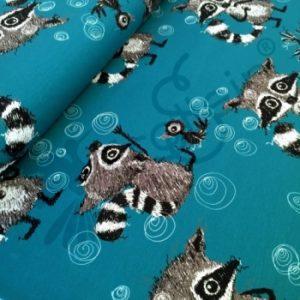Frollein S Fabrics Raccoon Dreams Teal