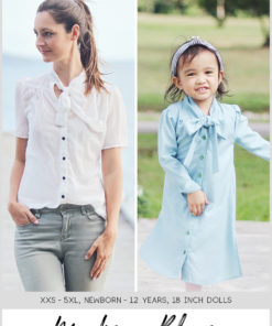 The Madison is a gorgeous tie neck blouse sewing pattern that can be lengthened to a dress! It's a beautifully-finished, and supremely lovely, garment .