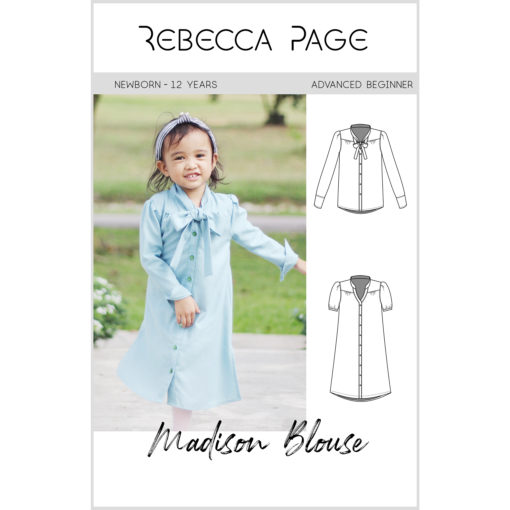 The Madison is a gorgeous childrens tie neck blouse pattern that can be lengthened to a dress! It's a beautifully-finished, supremely lovely, garment.