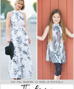 The Emma is a high neck dress pattern for ladies, children, and 18-inch dolls. This gorgeous dress and top has been designed with flowy loveliness in mind.