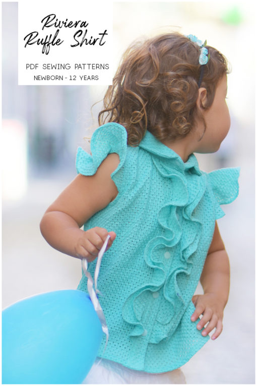 The Riviera Ruffle childrens ruffle shirt pattern is ever so pretty and really versatile with optional front ruffle, bias panels, and flutter sleeves. Love!