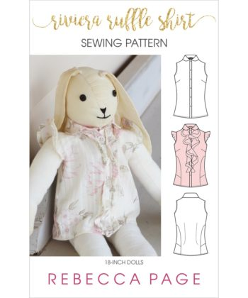 The Riviera Ruffle 18-inch dolls ruffle shirt pattern is ever so pretty and really versatile with optional ruffle, bias panels, and flutter sleeves. Love!