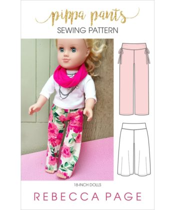 Super comfortable and really fast to make, this dolls pants pattern comes in two lengths, two waistbands, and two width options.