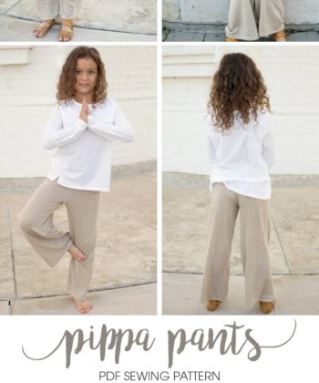 Super comfortable and really fast to make Pippa Pants, a children's comfy pants pattern with two lengths, and two waistband and two width options.