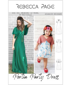 The FULL verison of the Portia Party dress bundle, includes the ladies', children's, and 18-inch dolls' sewing patterns! Party dresses for days!