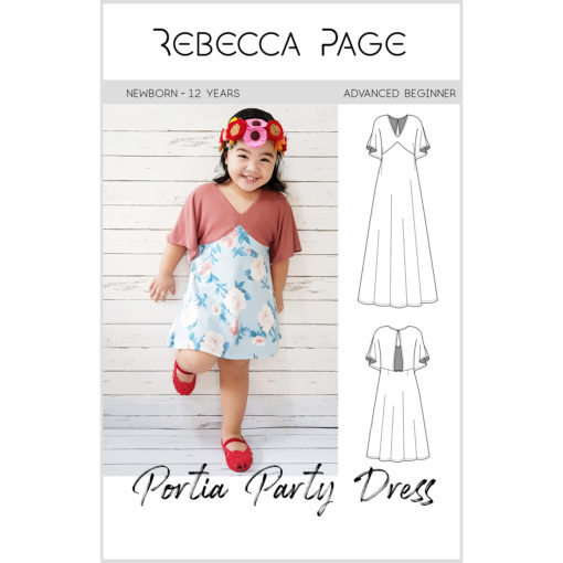 This lovely newborn to 12 years sized Portia party dress pattern can be made in 4 lengths, with 2 back finishes, and in either woven or knit fabric!