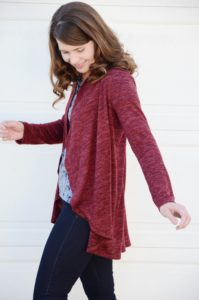 This ladies cardie pattern is a quick, easy sew! The Circle Cardie by Rebecca Page has a stunning, and stylish, waterfall drape.