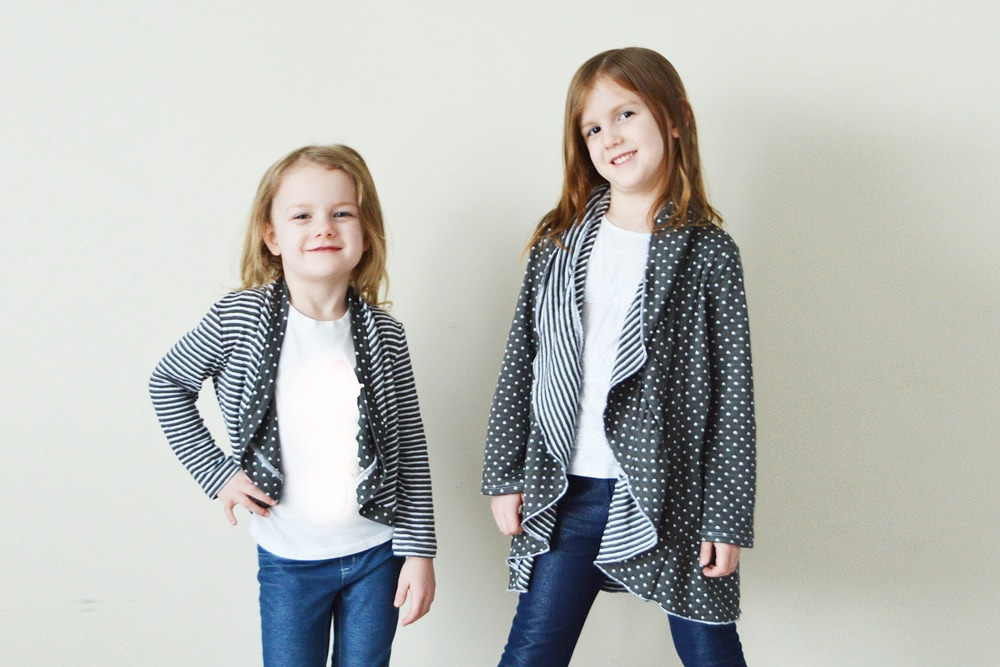 This childrens cardie pattern provides a gorgeous waterfall drape down the front. It is a quick, easy sew with stunning, stylish results!