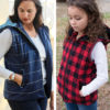 The Riley Vest Bundle including the ladies, childs and dolls Riley puffer vest pattern! Fully lined, super cosy and really stylish!