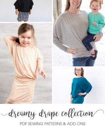 This complete Dreamy Drape pattern pack includes the Dreamy Drape top pattern bundle with the Dreamy Drape Add-on which turns it into a beautiful dress!