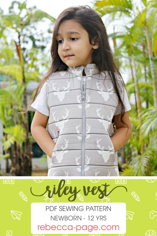 This child's puffer vest pattern is fully lined, with an optional detachable hood and optional welt or zipper front pockets. Super cosy and really stylish!