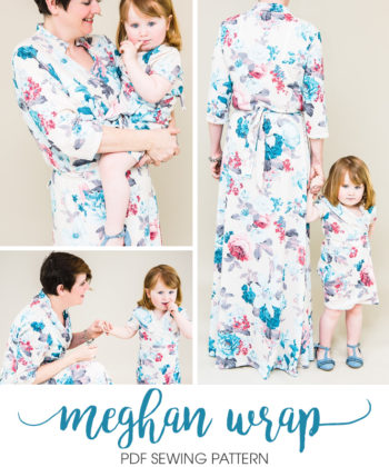 This bundle includes the ladies', children's, and dolls' Meghan Wrap dress pattern. It can be made in different lengths for different styles and occasions!