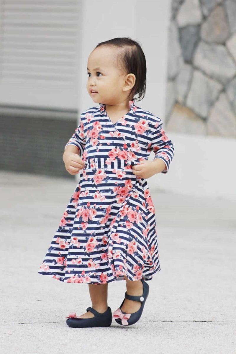 The children's version of the Meghan Wrap; a gorgeous childrens wrap dress pattern that can be made in three different lengths for different styles and occasions!