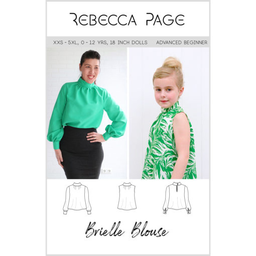 The Brielle Blouse is a loose-fitting blouse sewing pattern. This bundle includes ladies, childrens and dolls Brielle Blouse.