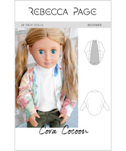 A dolls Cocoon Cardigan pattern. It's a super-cool, deliciously-draped, and comfy cardigan pattern that is perfect for beginner sewistas!