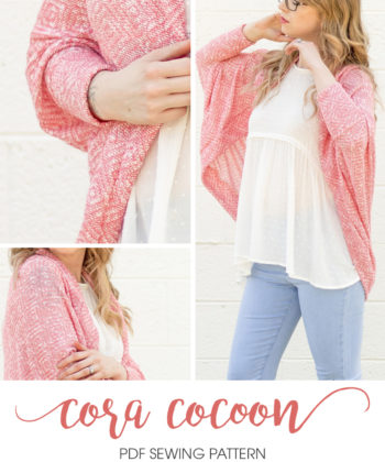 This ladies cocoon cardigan sewing pattern makes a slouchy, comfortable cardi and comes in three sleeve options. Perfect for beginner sewistas!