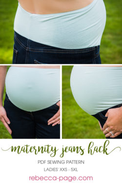 A pdf pattern for a maternity waistband to accommodate your growing belly and turn any pair of jeans or trousers into the perfect preggie pants!