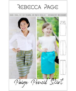 This pencil skirt sewing pattern gives you a comfortable, flattering elegance, and a sweet, simple, and comfy skirt for your little one, and their dolly!