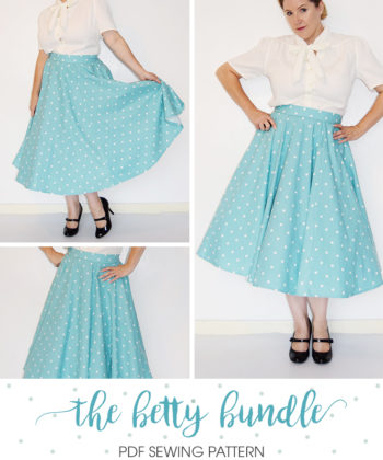 Get the complete Betty look with the Betty Skirt, the Betty Petticoat, and the Madison Blouse. This outfit bundle is versatile and full of vintage vibes.