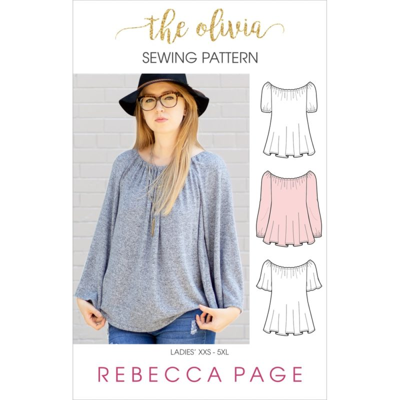 Olivia is a ladies boho top sewing pattern that is simply beautiful with a gathered boat neck and a relaxed, comfy fit that is floaty around the body.