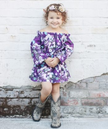 Eloise, the childrens off the shoulder maxi sewing pattern is a breezy swimwear cover up, a sweet summertime dress, and even a special-occasion maxi.