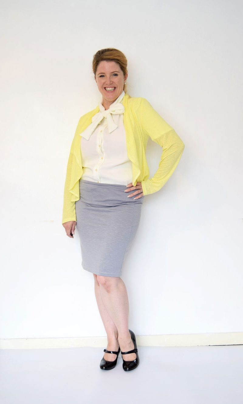 Sexy, sleek, elegant, flattering, AND comfortable, Peggy is a simple ladies knit pencil skirt pattern designed specifically with knit fabrics in mind.