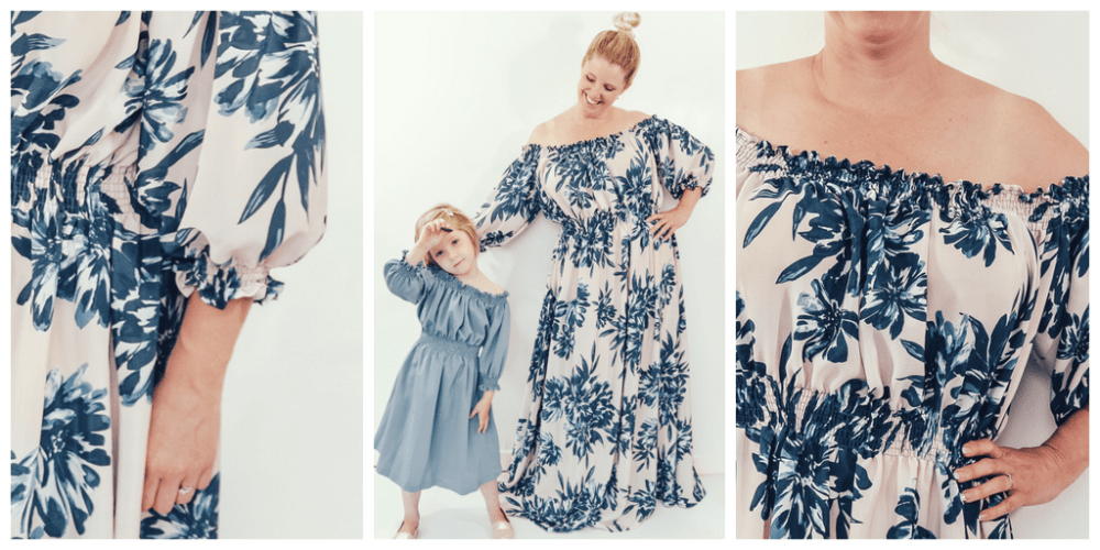 A breezy, off-the-shoulder summer top or dress, this little number is easy to sew and even easier to wear for ladies, little girls, and their dolls.