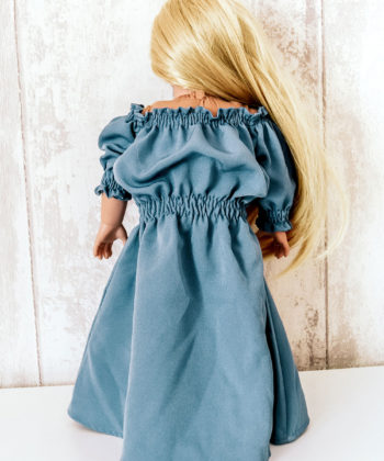 Eloise, the dolls off the shoulder maxi sewing pattern is a delightfully sweet dress-up matchy-match for your little one and their doll!