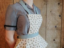 Add a little whimsy to anything that may require you to cover up and protect your outfit with this sublimely sweet vintage apron sewing pattern.