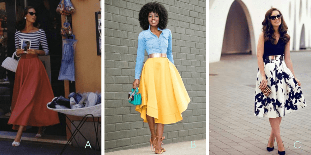 Circle skirt outfit inspiration.