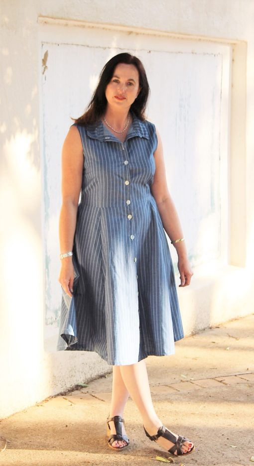 """The words """"simply beautiful"""" and """"everyday elegance"""" take shape in Sofia, the ladies shirt dress sewing pattern. Add her to your pattern collection!"""