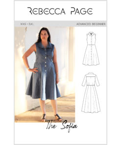 """The words """"simply beautiful"""" and """"everyday elegance"""" take shape in Sofia, the ladies shirt dress sewing pattern."""