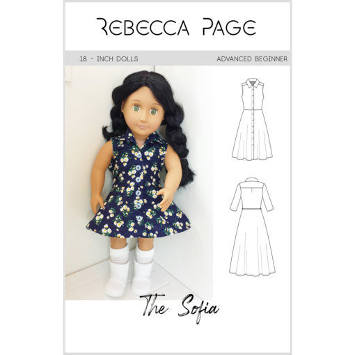 """The words """"simply"""" and """"beautiful"""" take shape in Sofia, the dolls shirt dress sewing pattern. Add her to your pattern collection!"""
