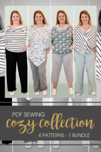 This collection is a bundle of ladies' winter sewing patterns and includes the Dreamy Drape, Comfy Cowl Hoodie, Neve Wrap Top, and Pippa Pants.