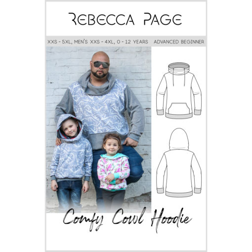 A nice, cozy, comfy tracksuit top collection of Comfy Cowl hoodie sewing patterns for the whole family. Keep the family covered!