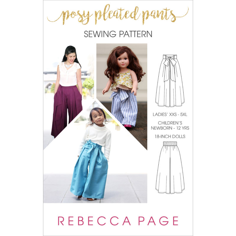 This pleated pants sewing pattern for ladies, children, and 18-inch dolls is comfort, elegance, and pretty practicality combined; a gift for your wardrobe.