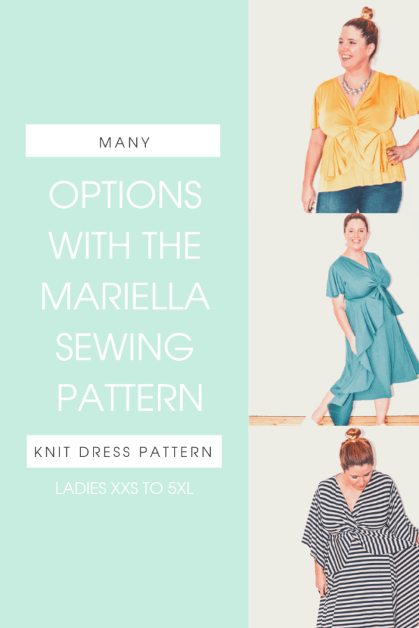 Mariella is a ladies knit dress sewing pattern with flattering lines, feminine frills, and fluted sleeves that can be worn through so many seasons of life.