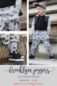 What happens when comfort and cool collide? You get this children's joggers sewing pattern! One piece of clothing that covers the kidlets from lounging about to doing chores to hitting up the classroom.