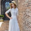 If you liked our Paris Party Dress, then you will love this gorgeous ladies gathered dress sewing pattern for knits: The Paris Day Dress